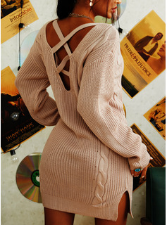 V-Neck Sexy Long Solid Cable-knit Sweaters
