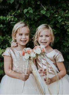 A-Lijn/Prinses Knie-Lengte Bloemenmeisjesjurken - Tule/Lovertjes Mouwloos Ronde Hals met Ceintuurs
