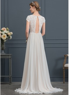 A-Line/Princess Scoop Neck Sweep Train Chiffon Wedding Dress