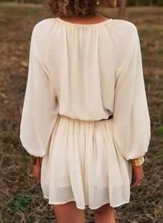 Solid Kjole med A-linje Lange ærmer Mini Casual Ferie skater Mode kjoler
