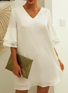 Solido Abiti dritti 3/4 maniche Flare Sleeve Mini Casuale Elegante Tunica Vestiti di moda