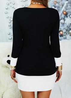 Color Block Åtsittande Långa ärmar Mini Fritids Modeklänningar
