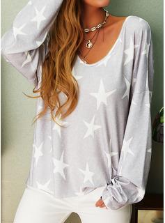 Print V-Neck Long Sleeves Casual T-shirt