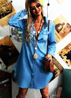Solid Skiftekjoler Lange ærmer Midi Jean Casual Skjorte Mode kjoler