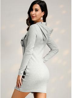 Nad kolanem Poliester Wydrukować Długie rękawy Nadruk Modne Suknie