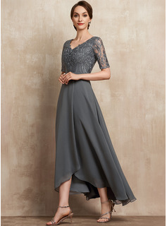 A-Line V-neck Asymmetrical Chiffon Lace Cocktail Dress