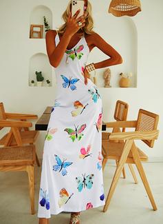 Impresión Vestido línea A Sin mangas Maxi Casual Tipo Vestidos de moda