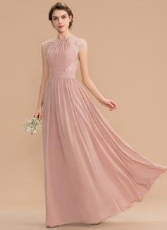 Corte A Decote redondo Longos Tecido de seda Renda Vestido de madrinha com Curvado