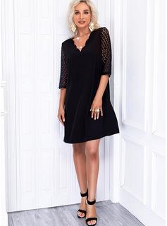 Solid Shift 1/2 Sleeves Mini Little Black Elegant Dresses