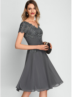 A-Line V-neck Knee-Length Chiffon Cocktail Dress With Sequins