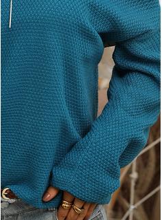 V-ringning Fritids Solid Tröjor