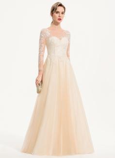 A-Line Scoop Neck Floor-Length Tulle Wedding Dress