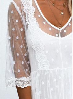 Encaje Sólido Vestidos sueltos Mangas 3/4 Mini Casual Túnica Vestidos de moda