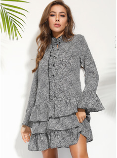 Sobre la rodilla Escote en V Gasa Impresión Mangas Largas Vestidos de moda