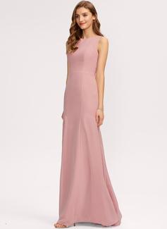 Sheath/Column Scoop Neck Floor-Length Chiffon Evening Dress With Split Front