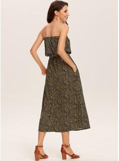 Vestido línea A Sin Tirante poliéster Vestidos de moda