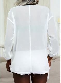Sólido Cuello en V Manga Larga Casual Blusas