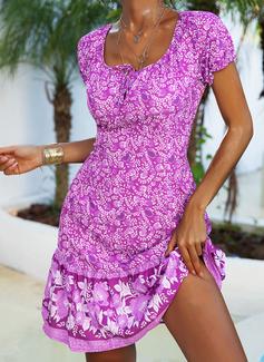 Imprimeu Bir Çizgi Mâneci Scurte Midi Boho gündelik Tatil Patenci Moda Elbiseler