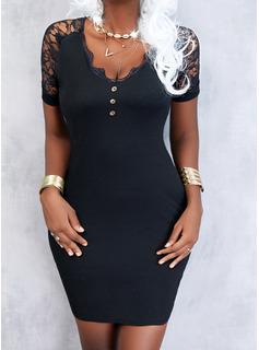 Solid Sheath Short Sleeves Mini Little Black Elegant Dresses