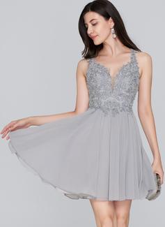 Corte A Amada Curto/Mini Tecido de seda Vestido de boas vindas com Beading lantejoulas