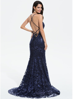 Trumpet/Mermaid V-neck Sweep Train Sequined Prom Dresses