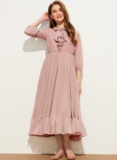 A-Linie U-Ausschnitt Wadenlang Chiffon Kleider für junge Brautjungfern mit Schleife(n) Gestufte Rüschen