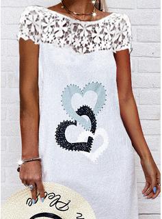 Print Hjerte Skiftekjoler Korte ærmer Midi Casual Mode kjoler