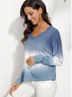 Tie Dye Scollatura a V 3/4 maniche Casuale Reggiseno Tshirt