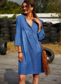 Solido Abiti dritti Maniche lunghe Mini Jean Casuale Tunica Vestiti di moda