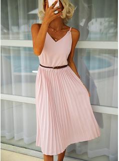 Solid Kjole med A-linje Ærmeløs Midi Casual Mode kjoler