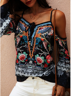 Floreale Stampa Spalle esposte Flare Sleeve Maniche lunghe Casuale