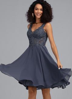 A-Line V-neck Knee-Length Chiffon Prom Dresses With Beading