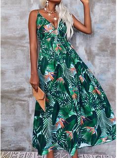 Impresión Vestido línea A Sin mangas Maxi Casual Patinador Tipo Vestidos de moda