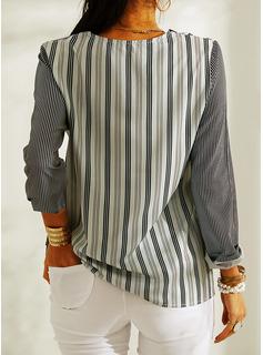縞模様の Vネック 長袖 カジュアル ブラウス