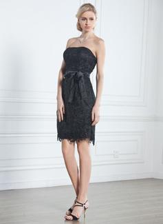 Forme Fourreau Sans bretelle Longueur genou Dentelle Petite robe noir