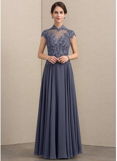 166158ba6e8 A-Linie Princess-Linie High Neck Bodenlang Chiffon Spitze Kleid für die  Brautmutter mit Pailletten (008164094) - Kleider für die Brautmutter -  DressFirst