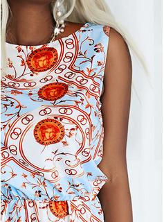Impresión Vestido línea A Sin mangas Mini Boho Casual Patinador Vestidos de moda