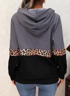 Color Block Print Leopard Long Sleeves Hoodie