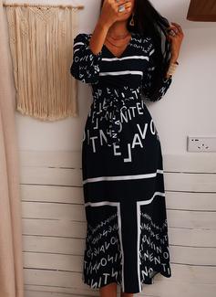 Druck A-Linien-Kleid Lange Ärmel Maxi Elegant Skater Modekleider