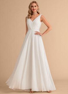 A-Line V-neck Floor-Length Chiffon Wedding Dress With Ruffle