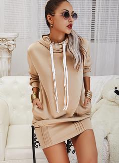 Solid Shift Long Sleeves Mini Casual Sweatshirt Dresses