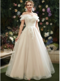 A-Line Sweetheart Floor-Length Wedding Dress With Lace Sequins