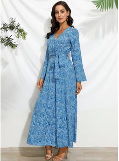 Druck A-Linien-Kleid Schlagärmel Lange Ärmel Maxi Lässige Kleidung Urlaub Skater Modekleider