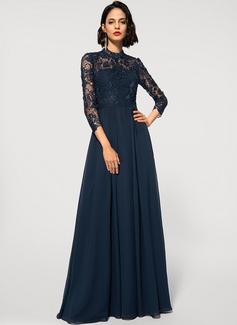 A-Line High Neck Floor-Length Chiffon Lace Evening Dress