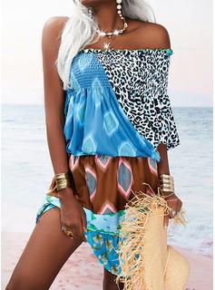 Leopardo Impresión Vestido línea A Manga Larga Mini Boho Vacaciones Patinador Vestidos de moda
