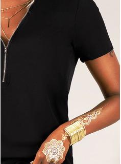 Einfarbig Kurze Ärmel Polyester V-Ausschnitt Stricken Blusen