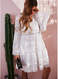 Lace Solid Shift Flare Sleeve Long Sleeves Midi Casual Tunic Dresses