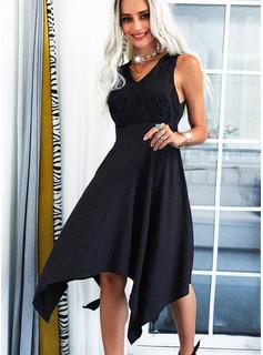 Solid A-line Sleeveless Asymmetrical Little Black Elegant Skater Dresses