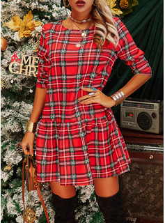Plaid Shift Long Sleeves Mini Casual Dresses