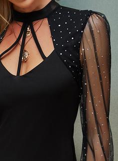 pailletter Solid Bodycon Lange ærmer Mini Den lille sorte Elegant Mode kjoler